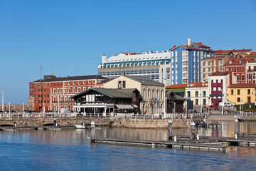View on Old Port of Gijon and Yachts, Northern Spain