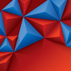 Red and blue vector geometric background.