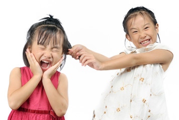 Siblings teasing, asian little girl pulling her sister's hair