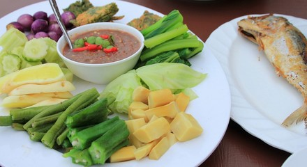 The Spicy Chili sauce and vegetable of  Thai Food