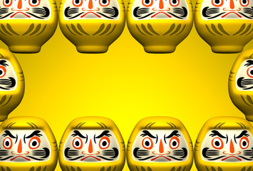 Yellow Daruma Dolls On Yellow Text Space