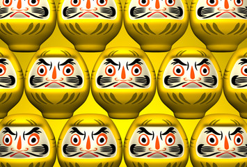 Yellow Daruma Dolls On Yellow