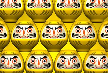 Yellow Daruma Dolls On Yellow
