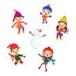 Winter Little kids snowman children vector set