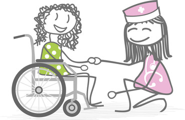 malade en fauteuil roulant