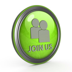 Join us circular icon on white background