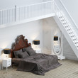 New white walls interior bedroom with upstairs