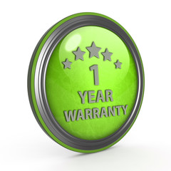 One year warranty circular icon on white background