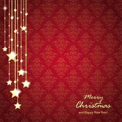 Golden Christmas Stars Red Background Ornaments