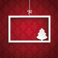 Red Background Ornaments White Frame Christmas Tree
