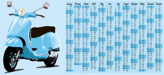 2015 calendar with retro scooter