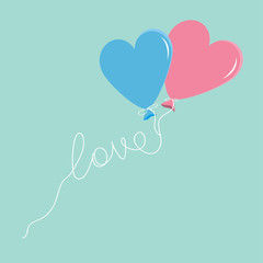 Blue and pink balloons in shape of heart  love thread Flat