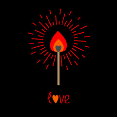 Burning love match with red  orange fire light shining Flat