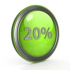 Twenty percent circular icon on white background