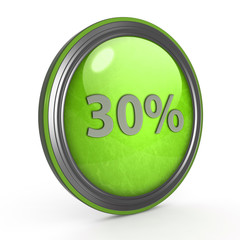 Thirty percent circular icon on white background