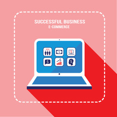 Laptop computer with business web icons
