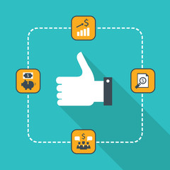Thumbs up icon for web. Successful business