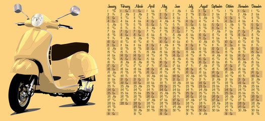 2015 calendar with retro scooter