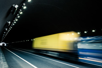 motion truck go through the tunnel
