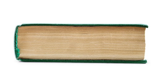 Vintage book in a green shell from the perspective of the side o
