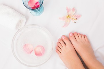 Womans feet after a pedicure