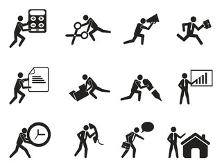 businessman office working man icons set