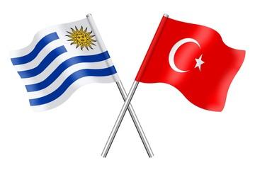 Flags: Uruguay and Turkey