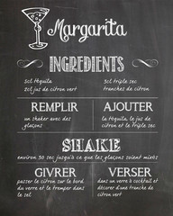Affiche recette margarita cocktail cuisine ardoise