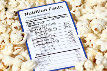 Nutrition facts of popcorn