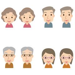 高齢者 顔 男女 セット