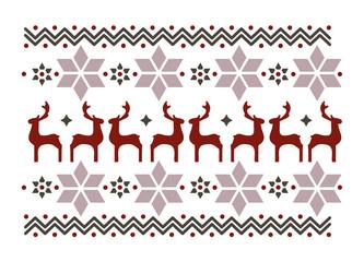 Muster aus Weihnachtssterne und Rentiere