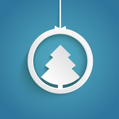 Christmas Tree Ring Blue Background