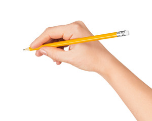 woman's hand draws a pencil on white isolation