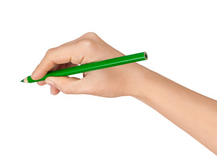 Female hand with a green pencil on isolated white