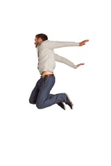 Full length of cheerful young man jumping