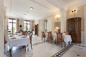 Interior of a restaurant in luxury villa