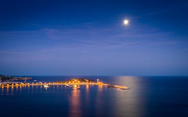 Ibiza harbor at night