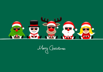 Tree, Snowman, Rudolph, Santa & Angel Sunglasses Green