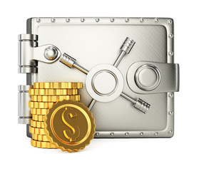 Metal wallet and golden coins