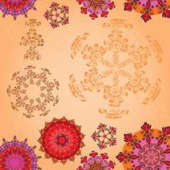 Colored mandala on a sepia background
