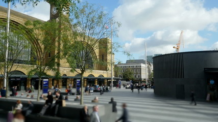 King's Cross station frontage time lapse panorama.