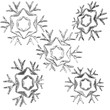 Set of christmas snow flakes 3d render isolated on white backgro