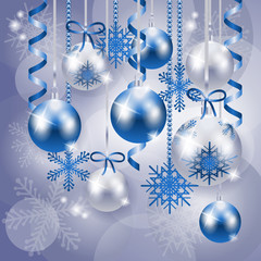 Christmas background in blue and silver