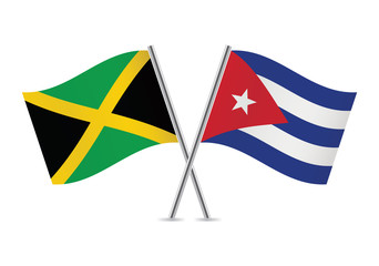 Jamaican and Cuban flags. Vector illustration.