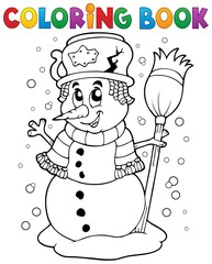 Coloring book snowman theme 1