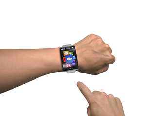 man finger point app icons of smartwatch with curved screen