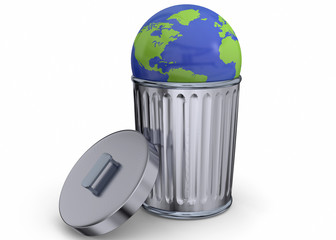 World in Recycle Bin - 3d