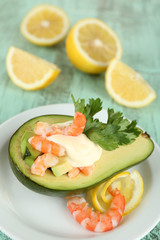Tasty salad with shrimps and avocado