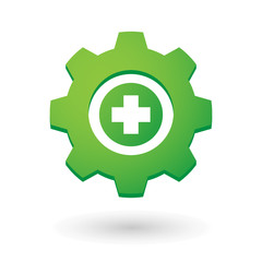 Gear icon with a pharmacy icon