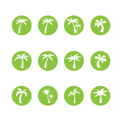 coconut tree circle icon set, vector eps10
